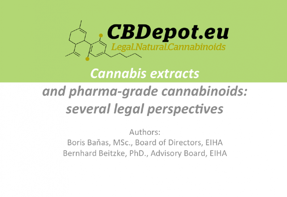 Cannabis extracts and pharma-grade cannabinoids: several legal perspectives